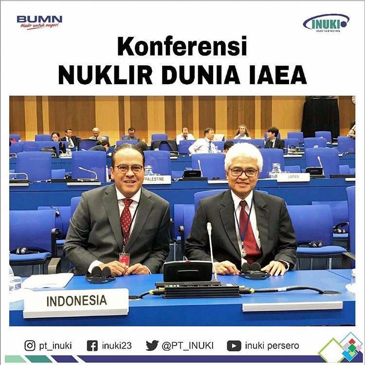 Direktur Produksi dan Penjualan PT Industri Nuklir Indonesia (INUKI), Bunjamin Noor (kiri), saat menghadiri Sidang Umum IAEA, di Wina, Austria.